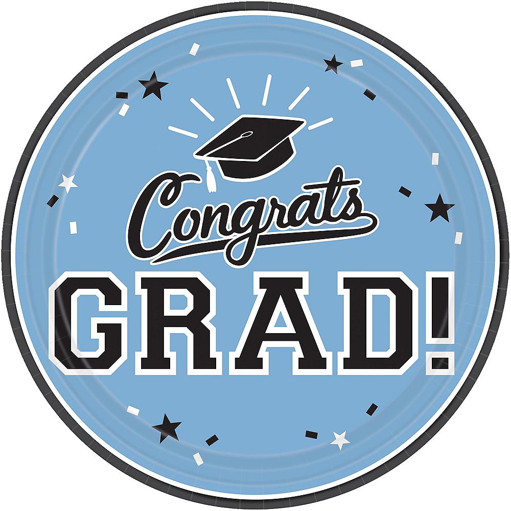 Pastel Blue Congrats Grad Lunch Plates 18ct Image #1