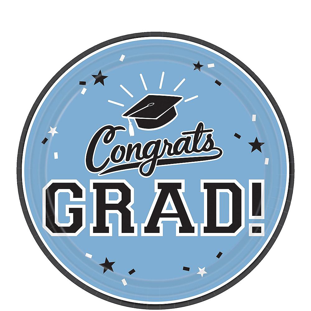 Pastel Blue Congrats Grad Dessert Plates 18ct Image #1