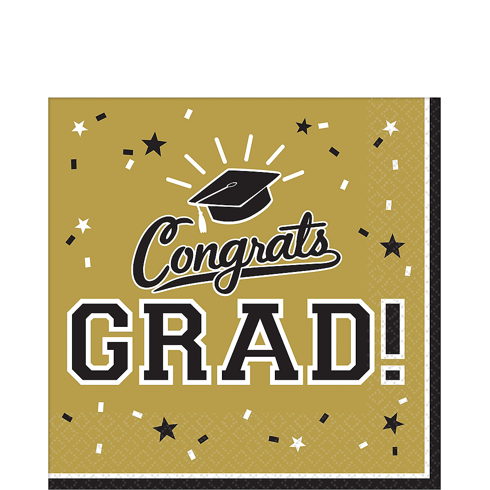 Gold Congrats Grad Lunch Napkins 36ct Image #1