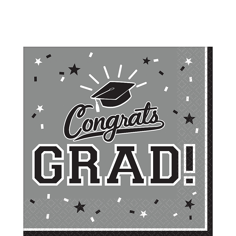 Nav Item for Silver Congrats Grad Lunch Napkins 36ct Image #1