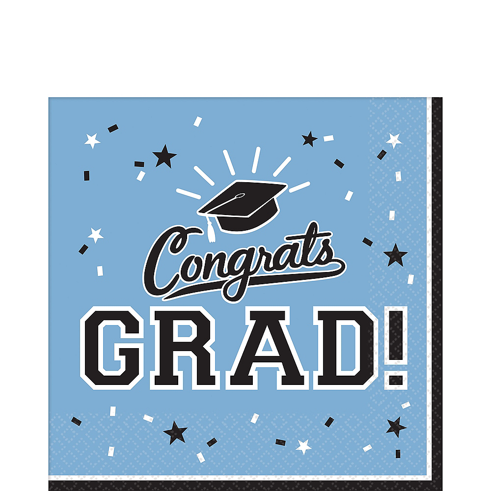 Nav Item for Pastel Blue Congrats Grad Lunch Napkins 36ct Image #1