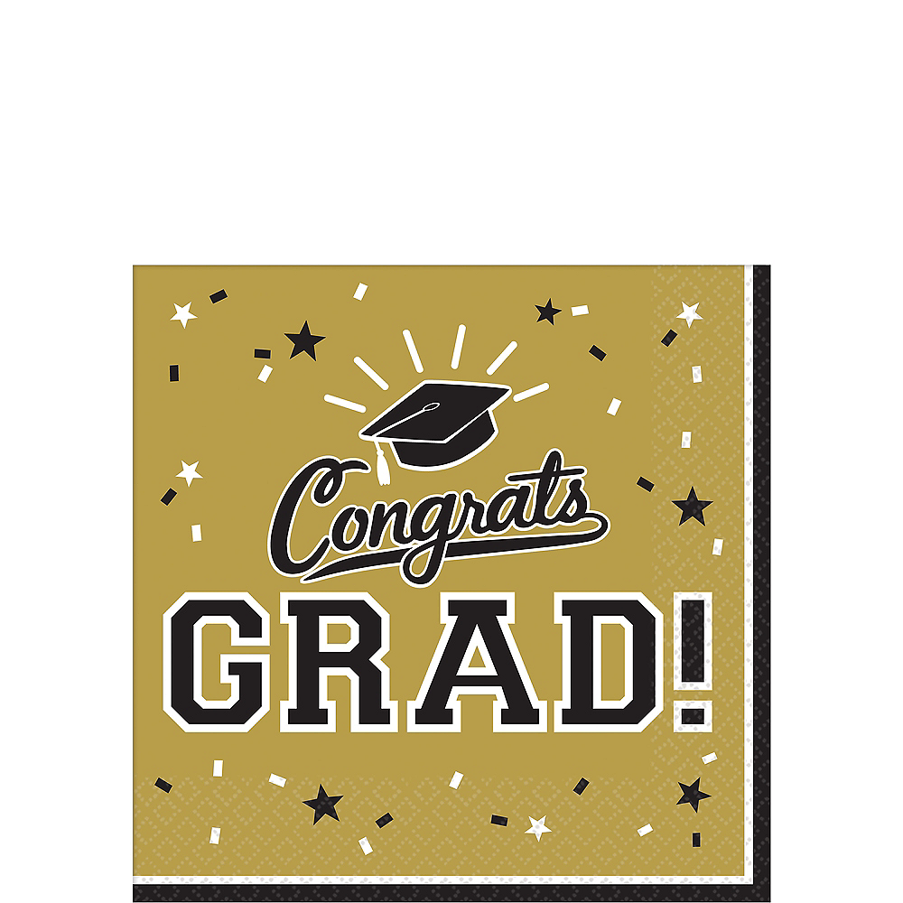 Nav Item for Gold Congrats Grad Beverage Napkins 36ct Image #1