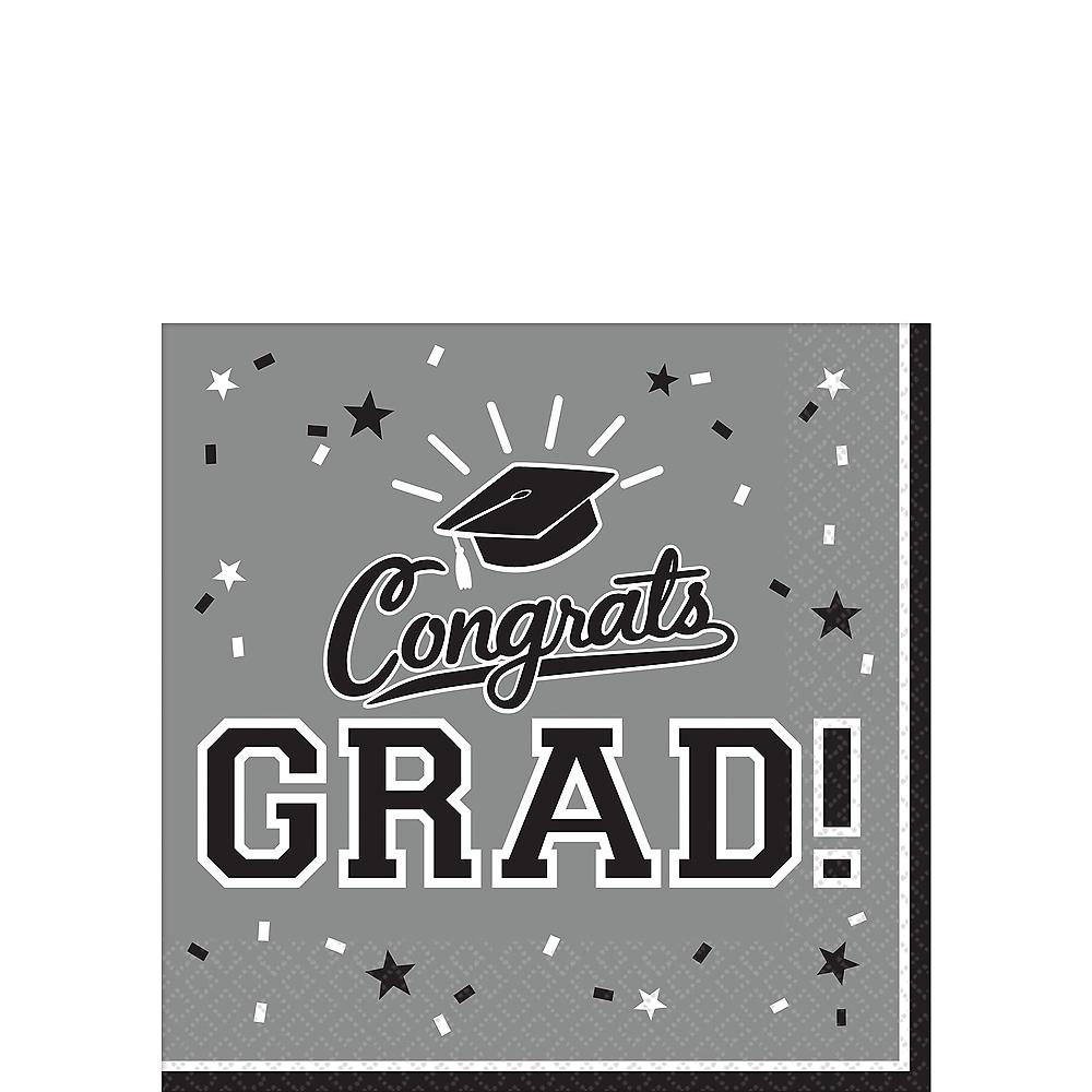 Silver Congrats Grad Beverage Napkins 36ct Image #1