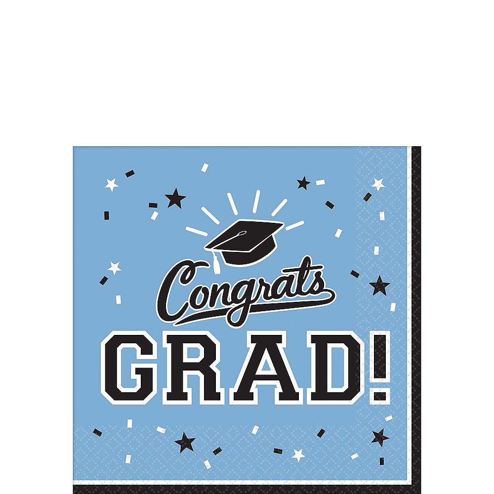 Nav Item for Pastel Blue Congrats Grad Beverage Napkins 36ct Image #1