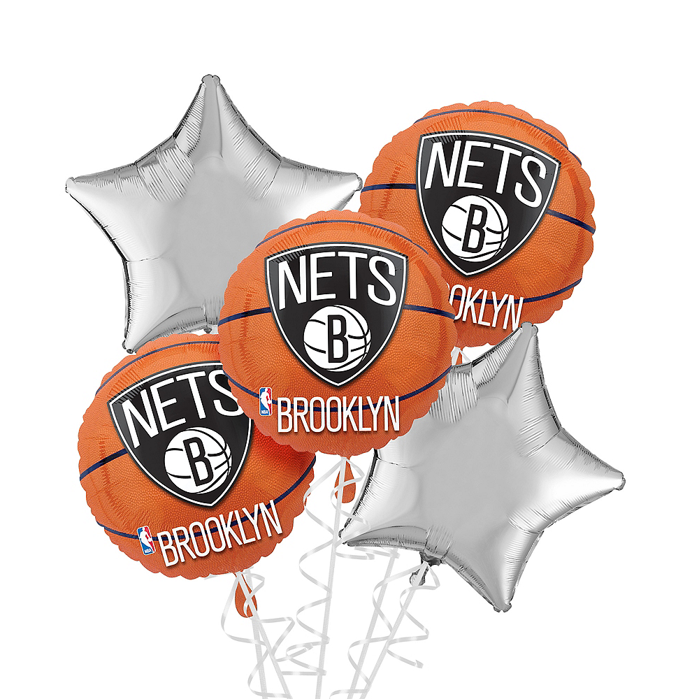 Brooklyn Nets Balloon Bouquet 5pc Image #1