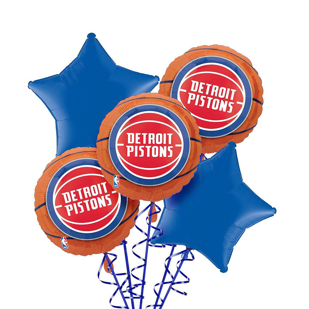 Detroit Pistons Balloon Bouquet 5pc Image #1