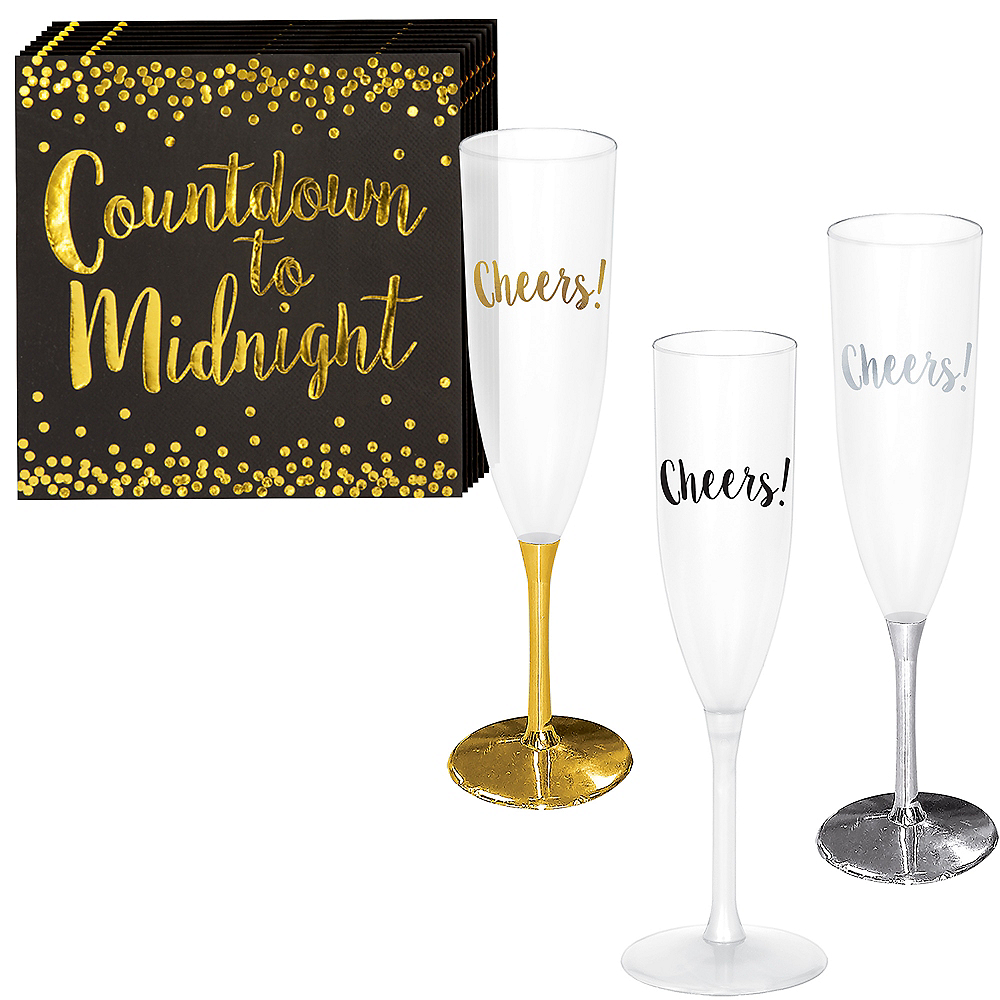 New Year's Champagne Flute Kit for 30 Guests Image #1