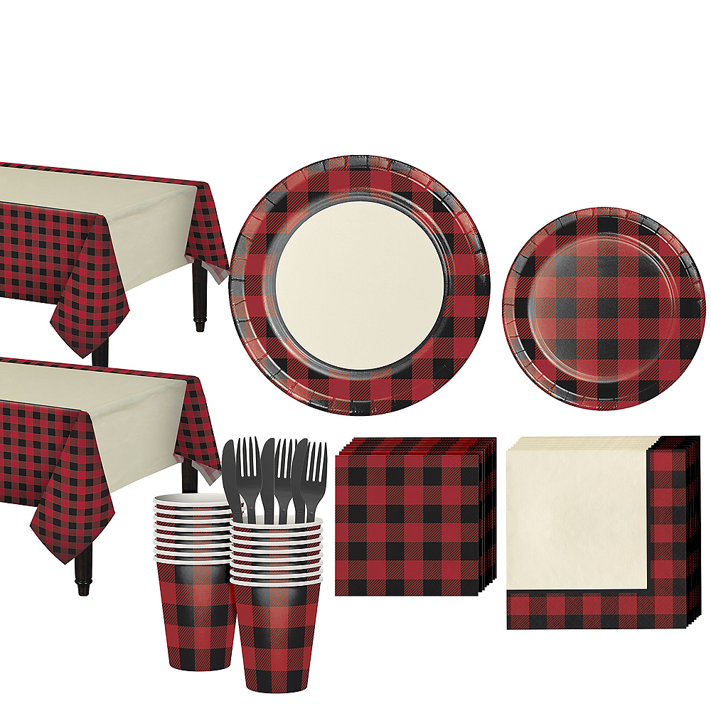 Buffalo Plaid Tableware Kit for 32 Guests Image #1