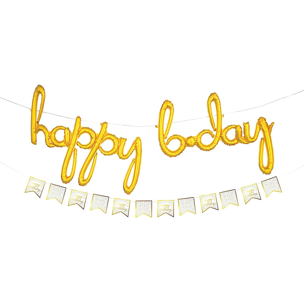 air filled gold happy bday cursive letter balloons with pennant banner image 1
