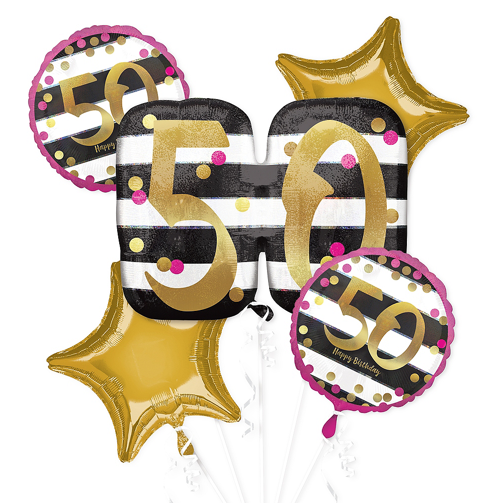 Pink Gold 50th Birthday Balloon Bouquet 5pc Image 1