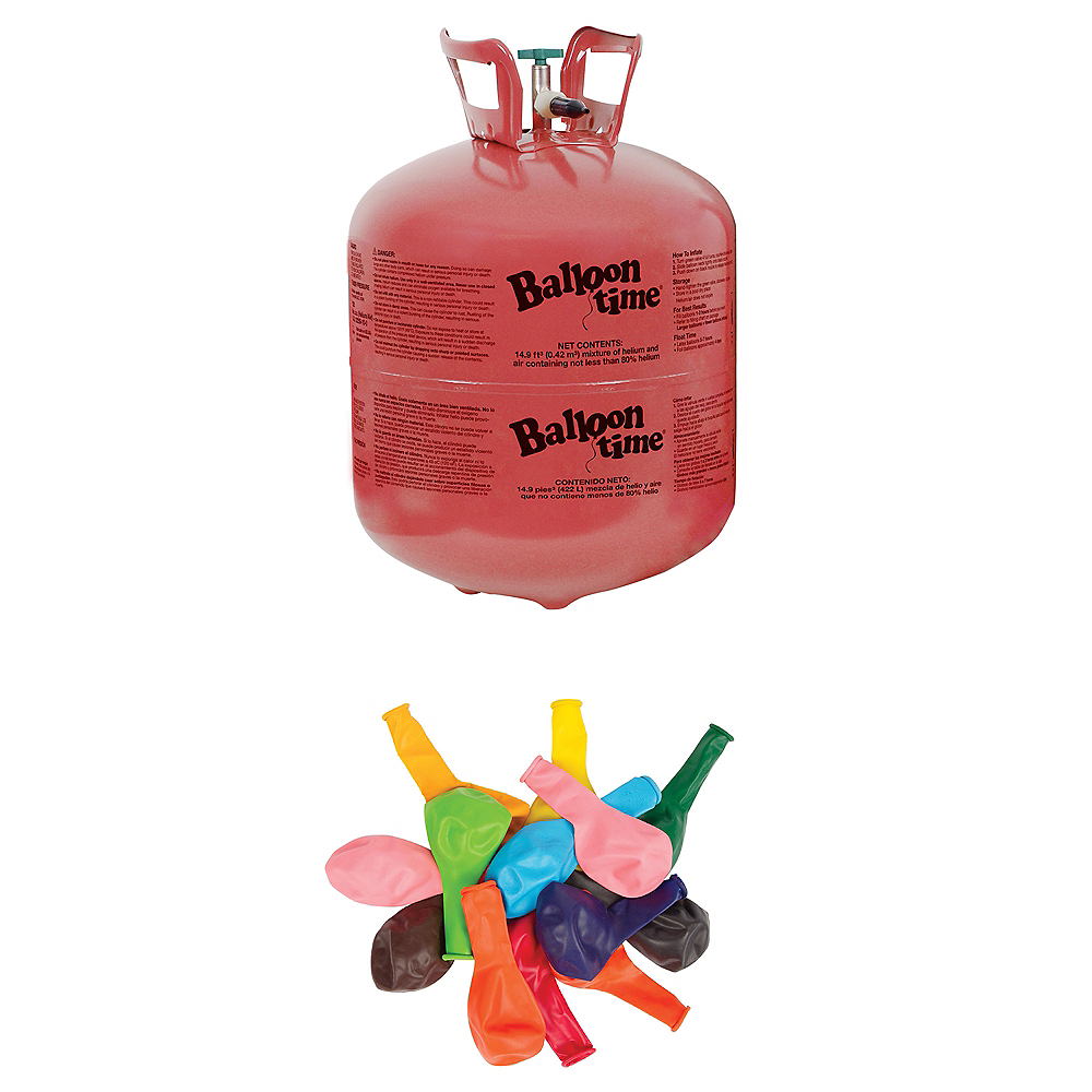 Balloon Time Large Helium Tank 149cu Ft Kit With Balloons Ribbon Image