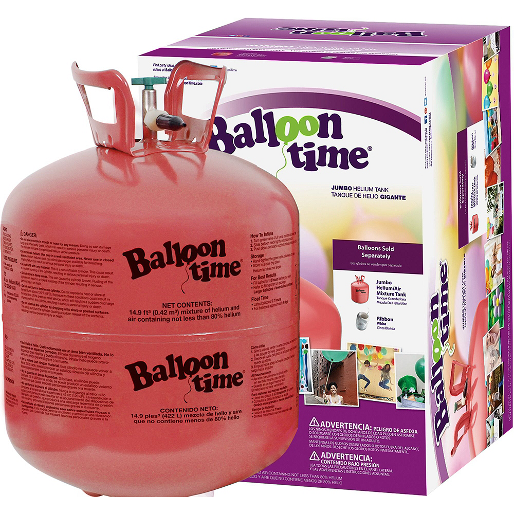 Balloon Time Large Helium Tank with 30 Balloons & Ribbon Image #3