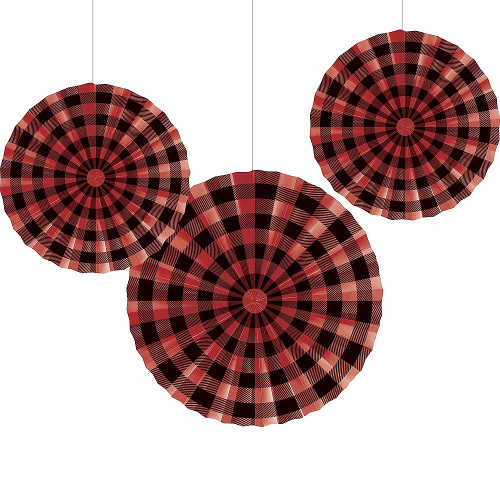 Buffalo Plaid Paper Fan Decorations 3ct Image #1