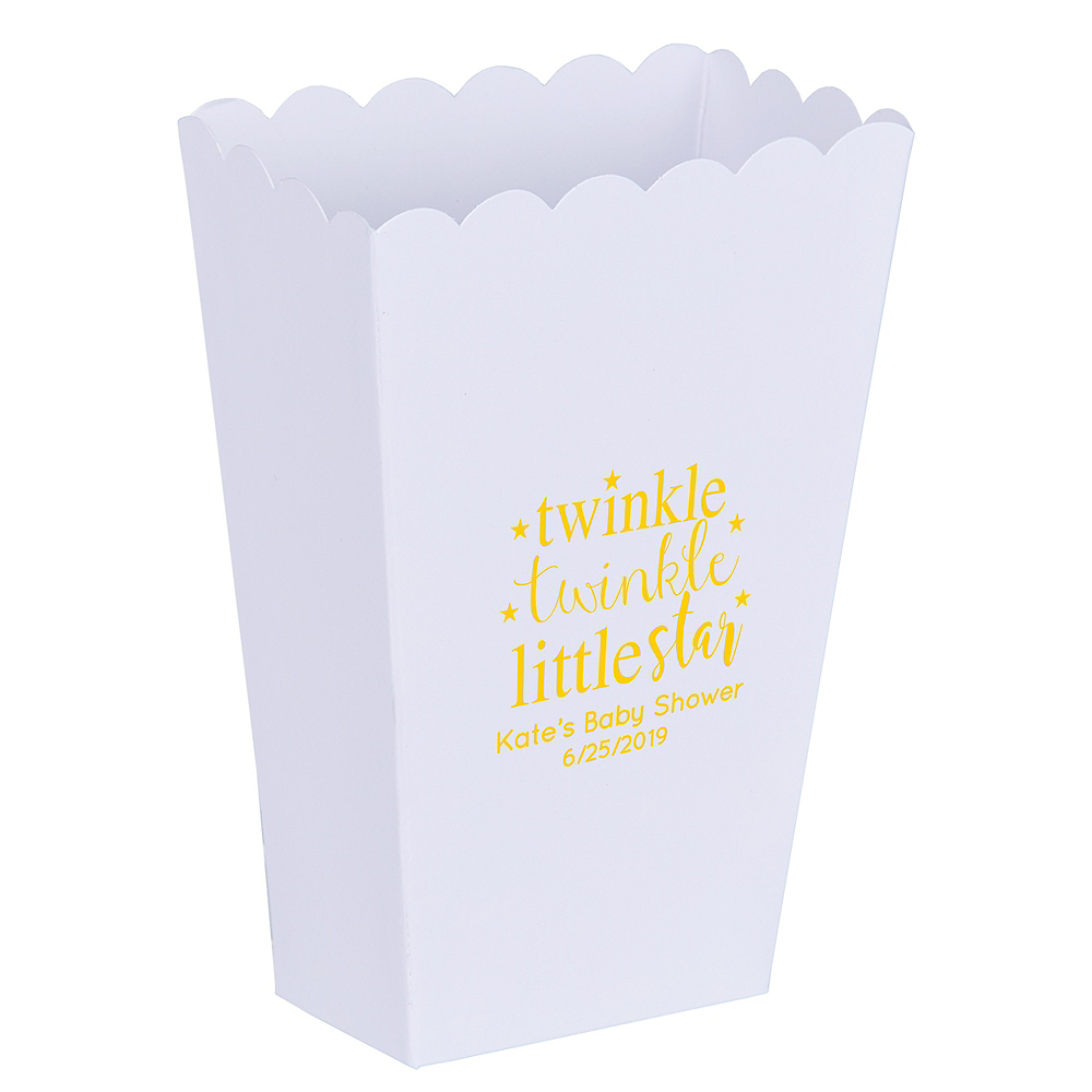 Personalized Mini Baby Shower Popcorn Treat Boxes Image #1