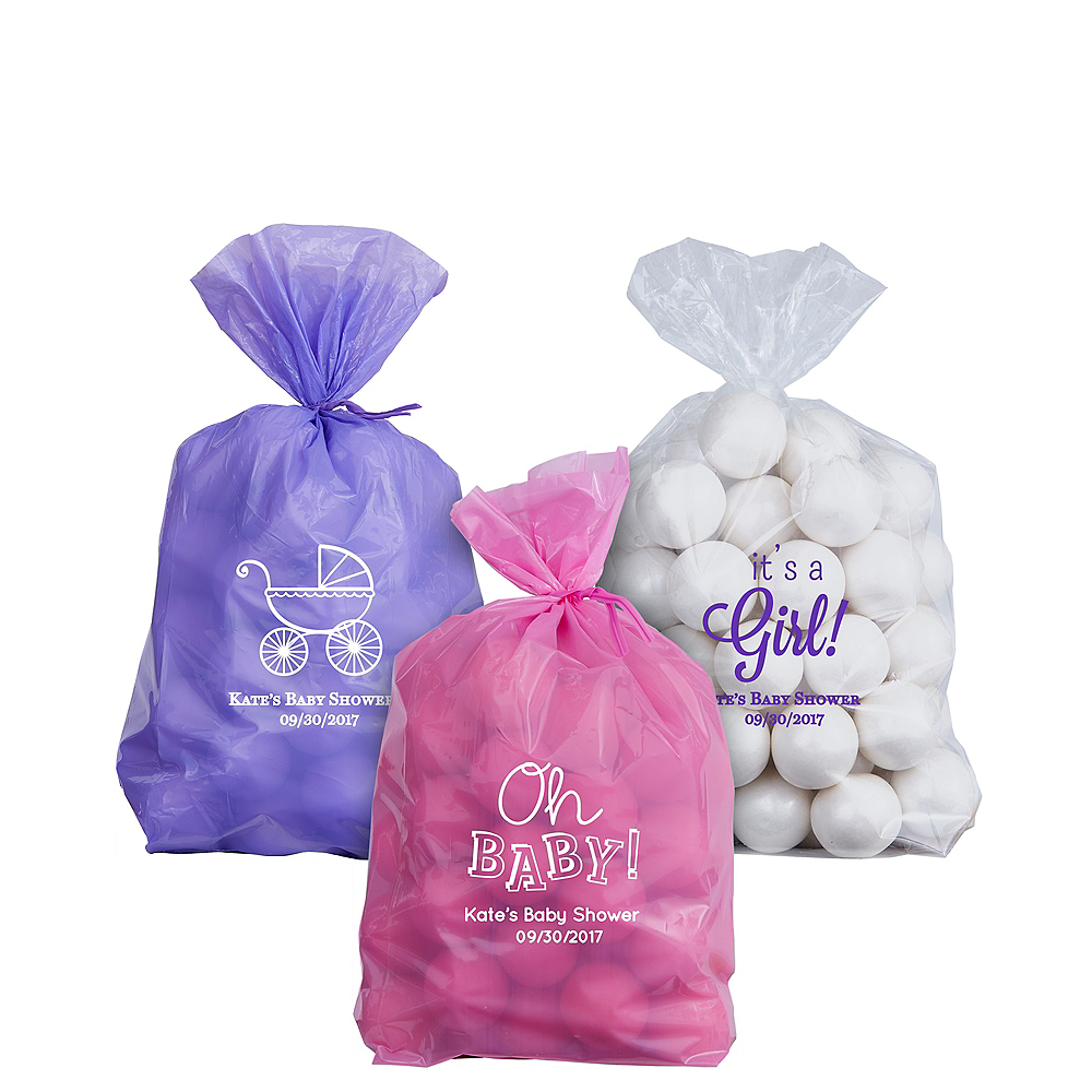 Personalized Small Baby Shower Plastic Treat Bags Image #1