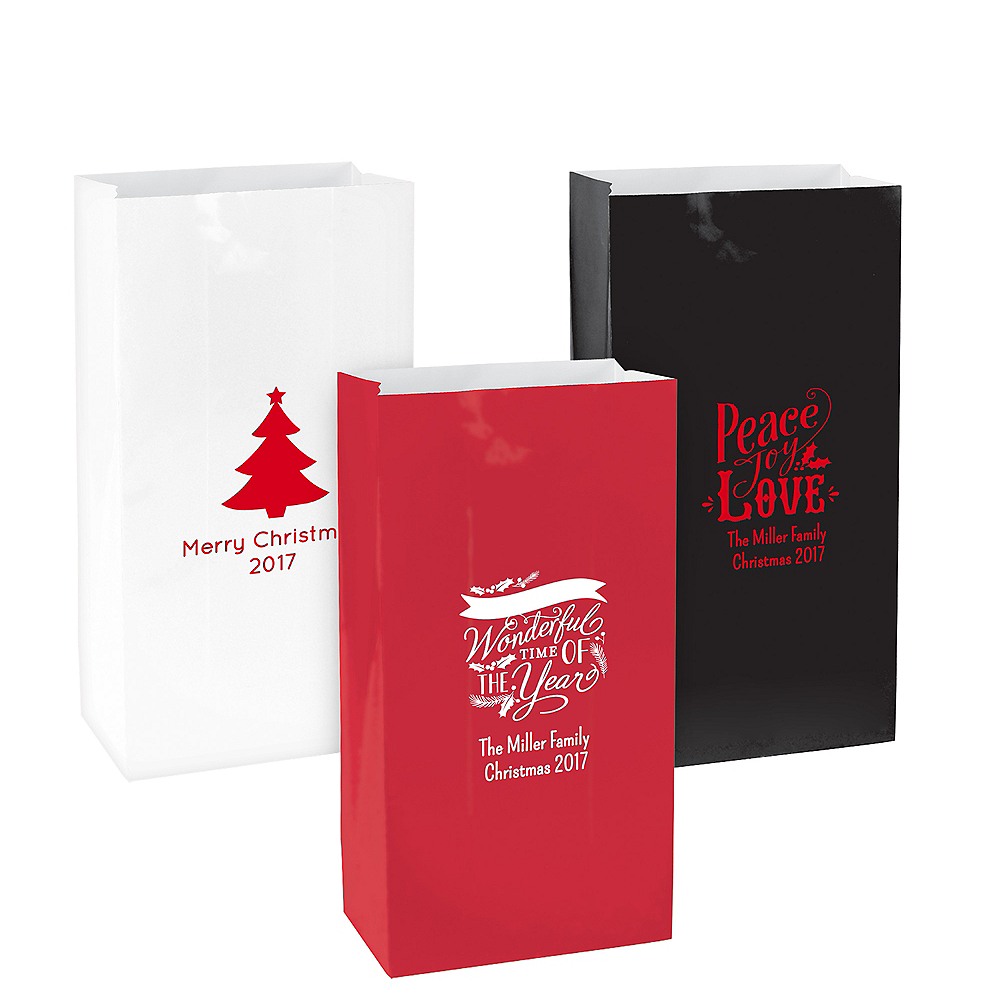 Personalized Medium Christmas Paper Treat Bags Image #1