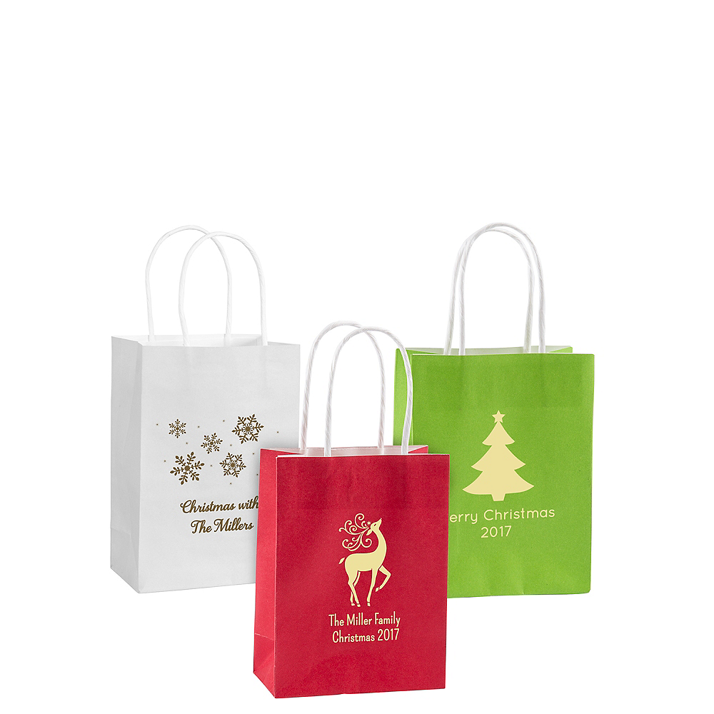 Personalized Small Christmas Kraft Bags Image #1