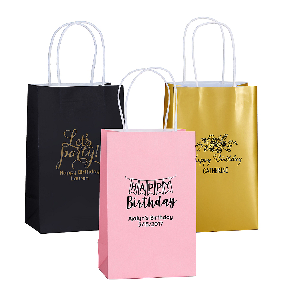 Personalized Medium Birthday Kraft Bags Image #1