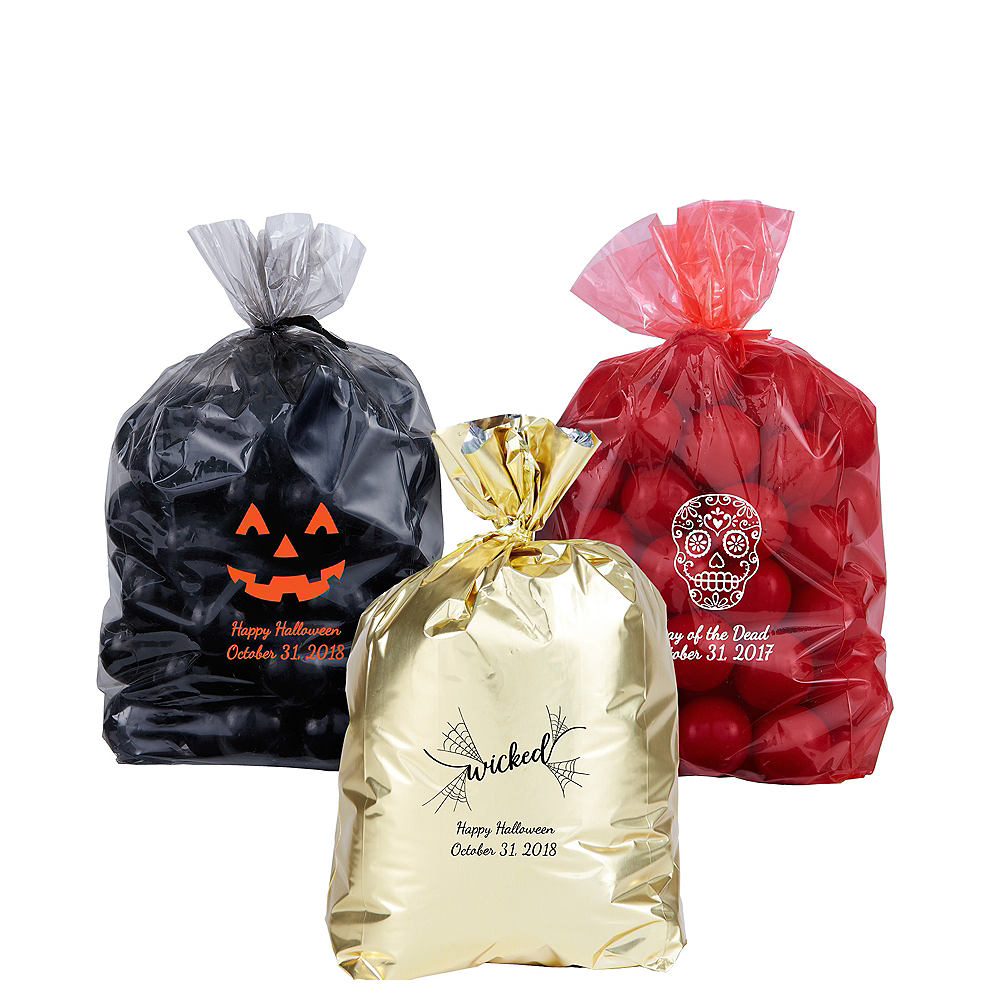Personalized Small Halloween Plastic Treat Bags Image #1