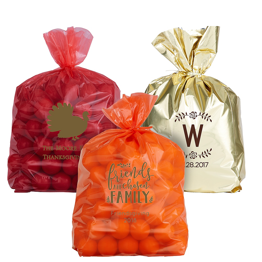Personalized Medium Thanksgiving Plastic Treat Bags Image #1