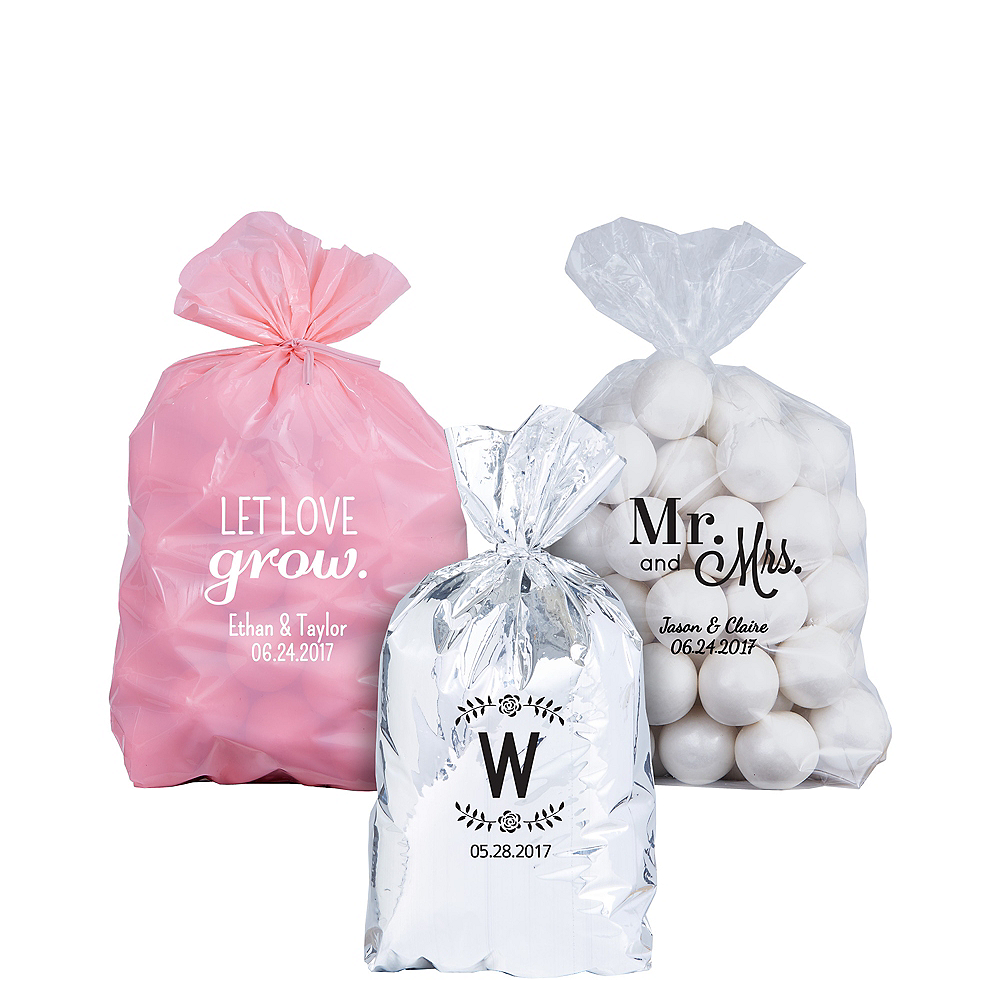 Personalized Small Wedding Plastic Treat Bags Image 1