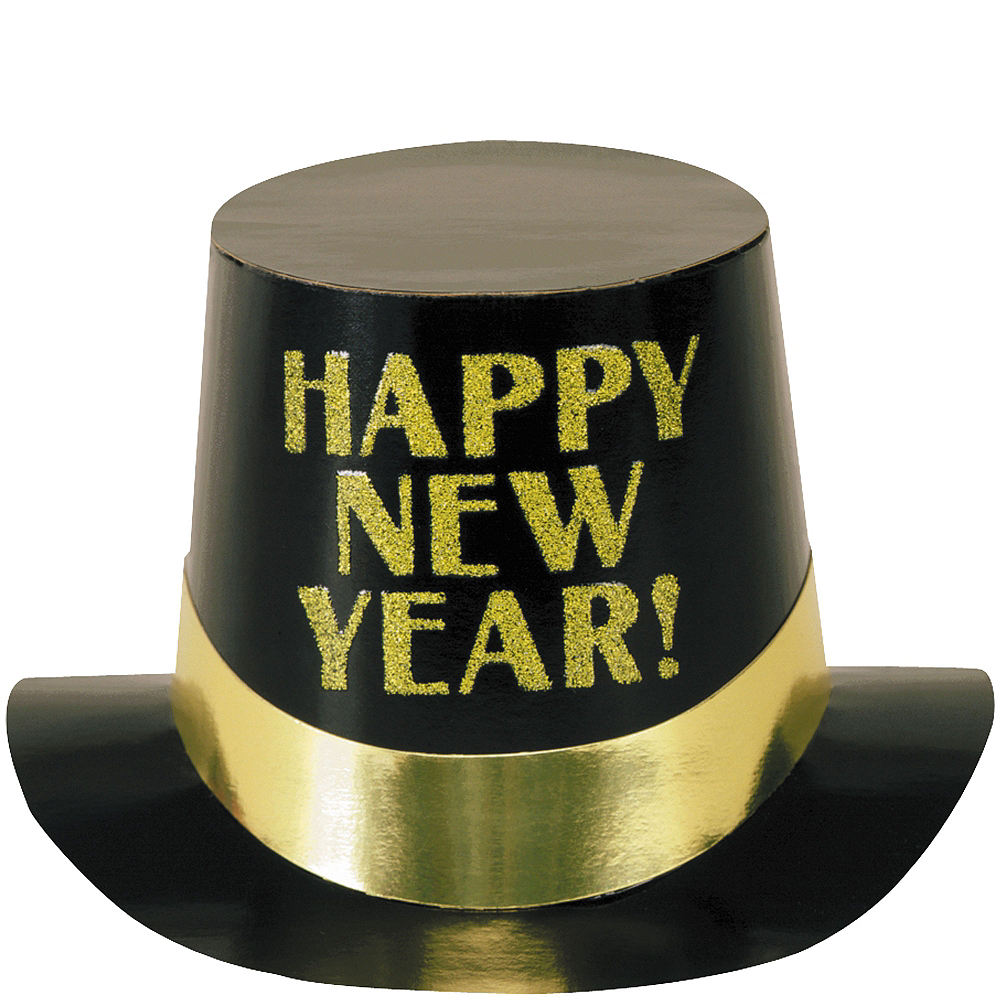 Black & Gold Happy New Year Top Hat   Party City