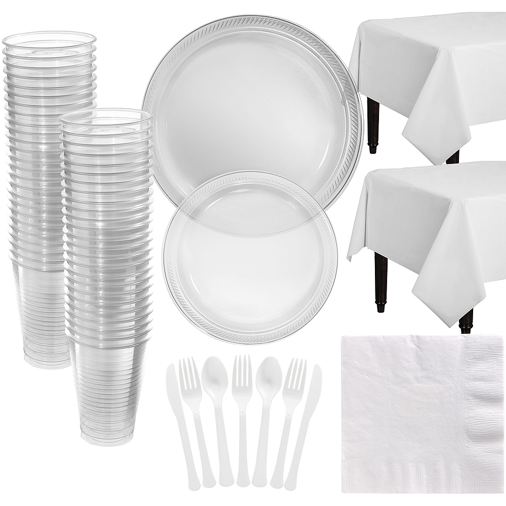 CLEAR Plastic Tableware Kit for 50 Guests Image #1