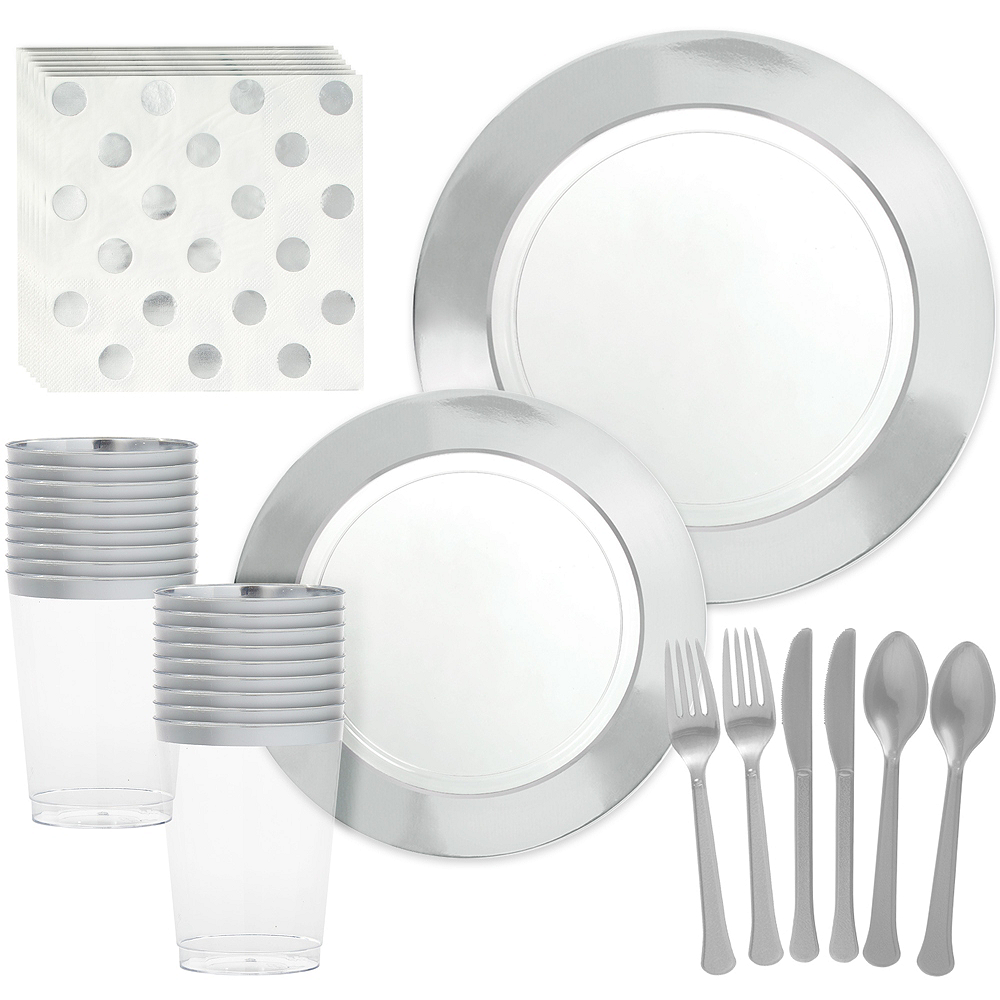 Premium Silver Border Clear Tableware Kit for 20 Guests Image #1