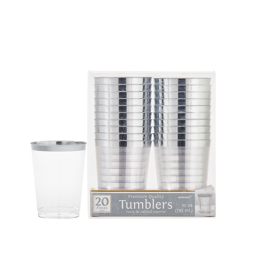 Premium Silver Border Clear Tableware Kit for 20 Guests Image #5