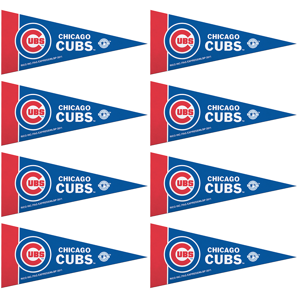 Mini Chicago Cubs Pennant Flags 8ct Image #1