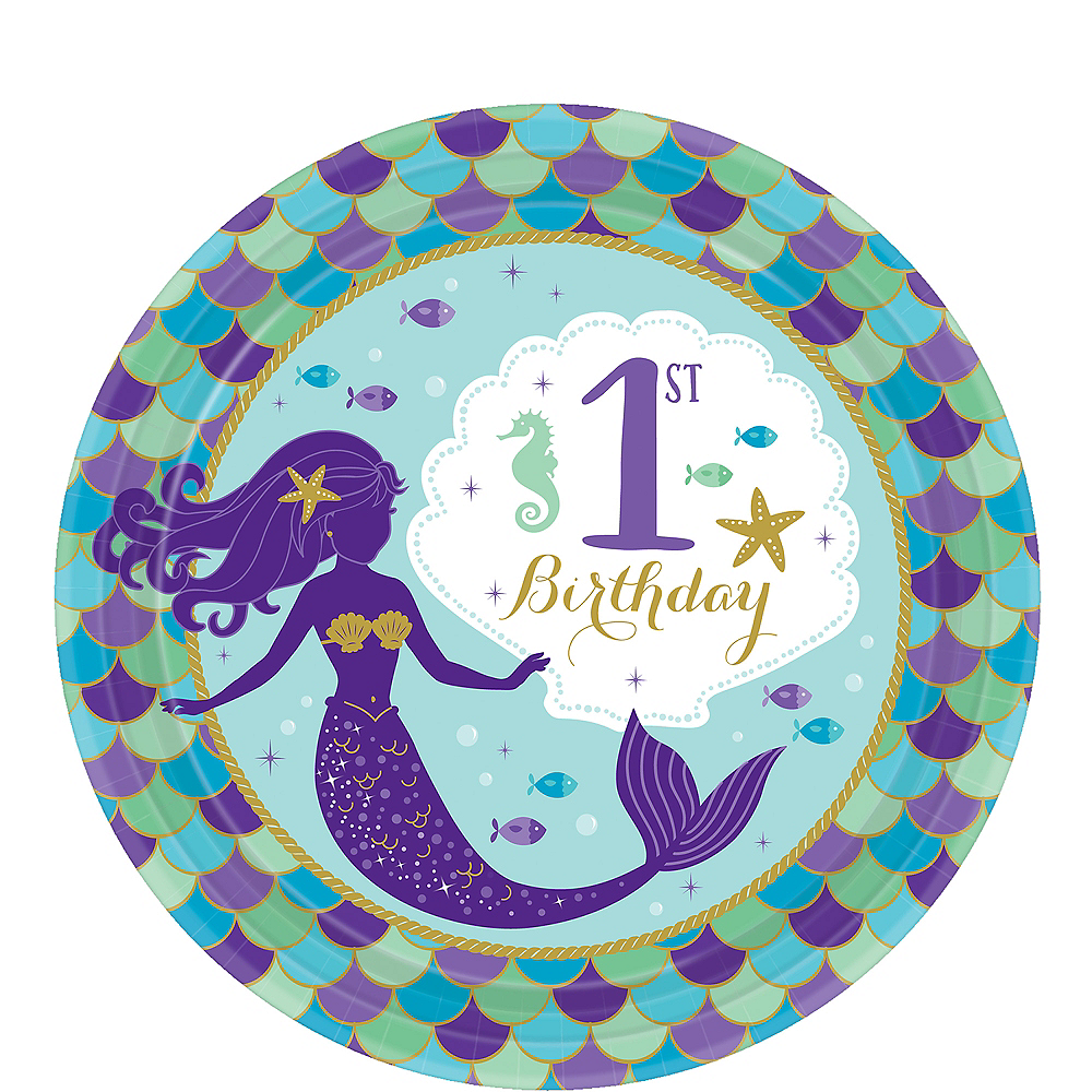 Wishful Mermaid 1st Birthday Dessert Plates 8ct Image #1