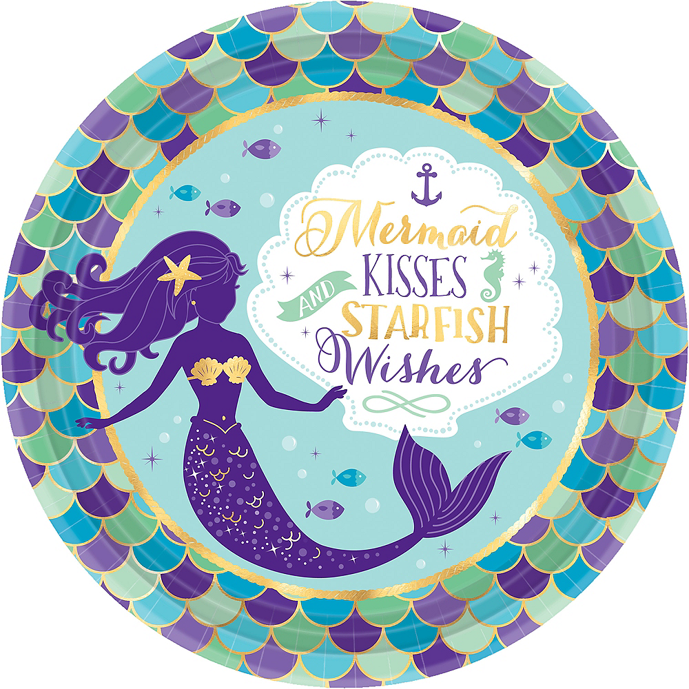 Wishful Mermaid Lunch Plates 8ct Party City