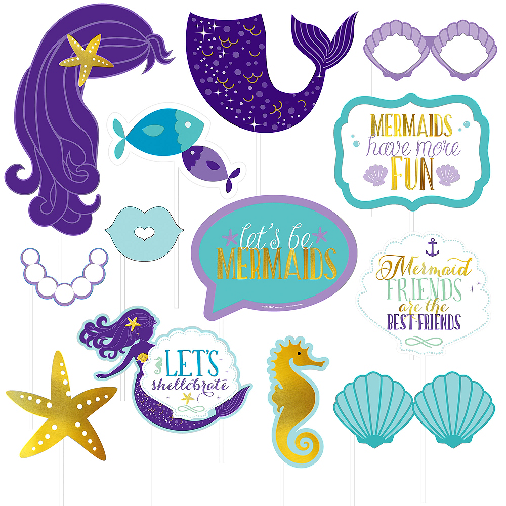 Wishful Mermaid Photo Booth Props 13ct Party City