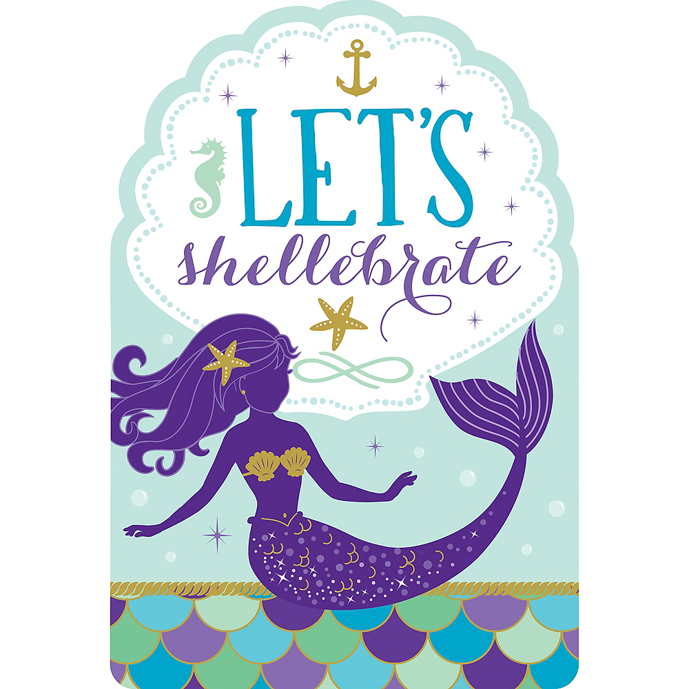 Wishful Mermaid Invitations 8ct Image 1