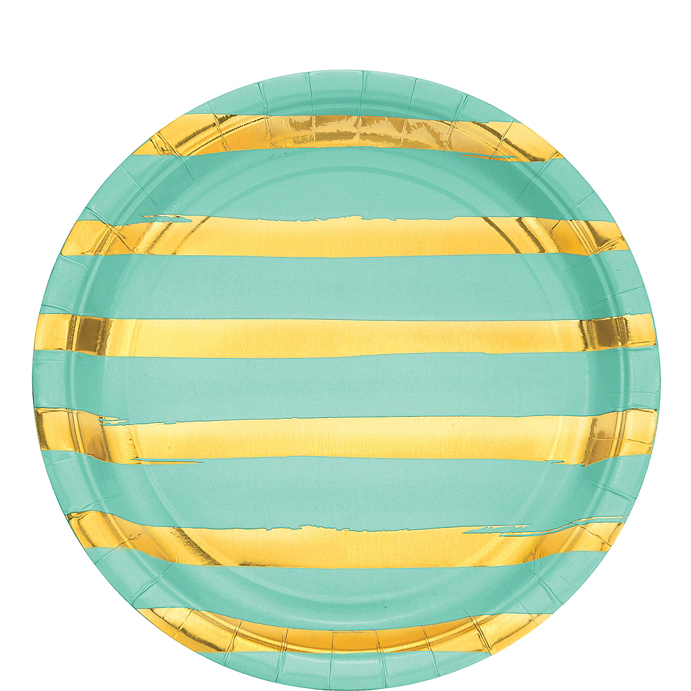 Metallic Gold Striped Mint Green Lunch Plates 8ct Image #1