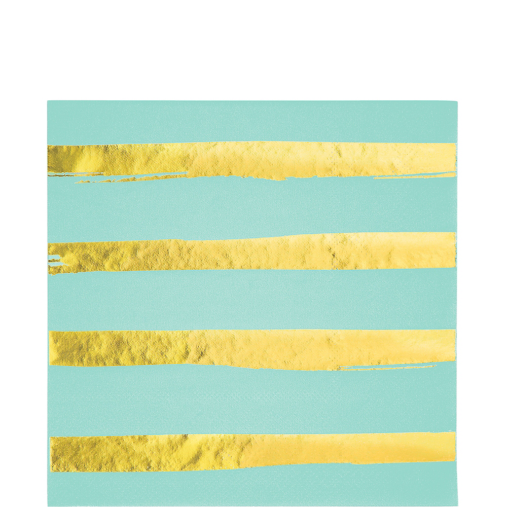 Metallic Gold Striped Mint Green Lunch Napkins 16ct Image #1