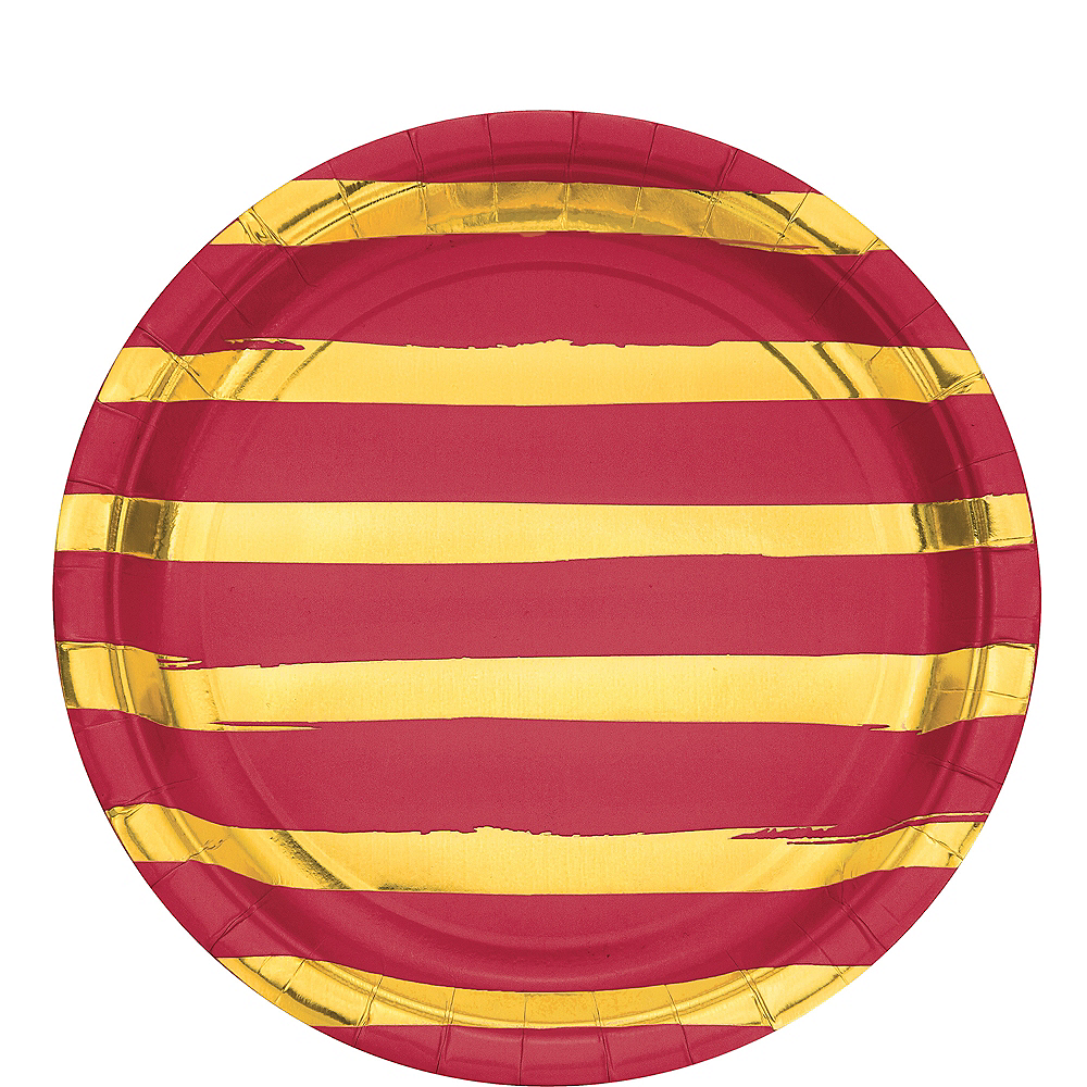 Metallic Gold Striped Red Lunch Plates 8ct Image #1