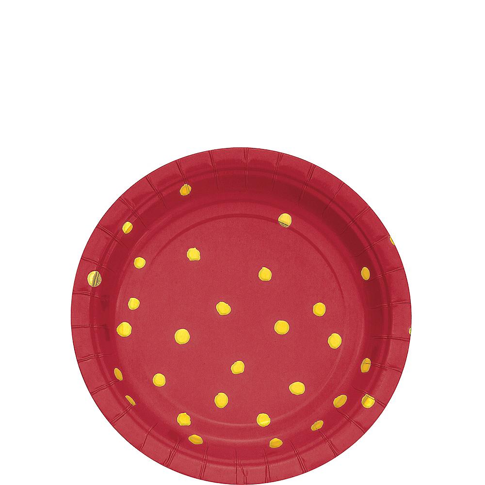 Metallic Gold Polka Dot Red Dessert Plates 8ct Image #1