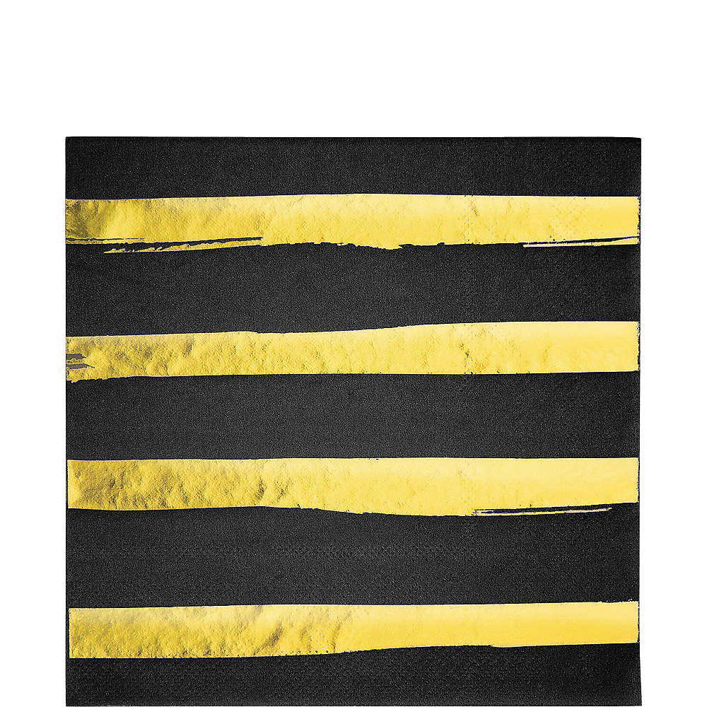 Metallic Gold Striped Black Lunch Napkins 16ct Image #1