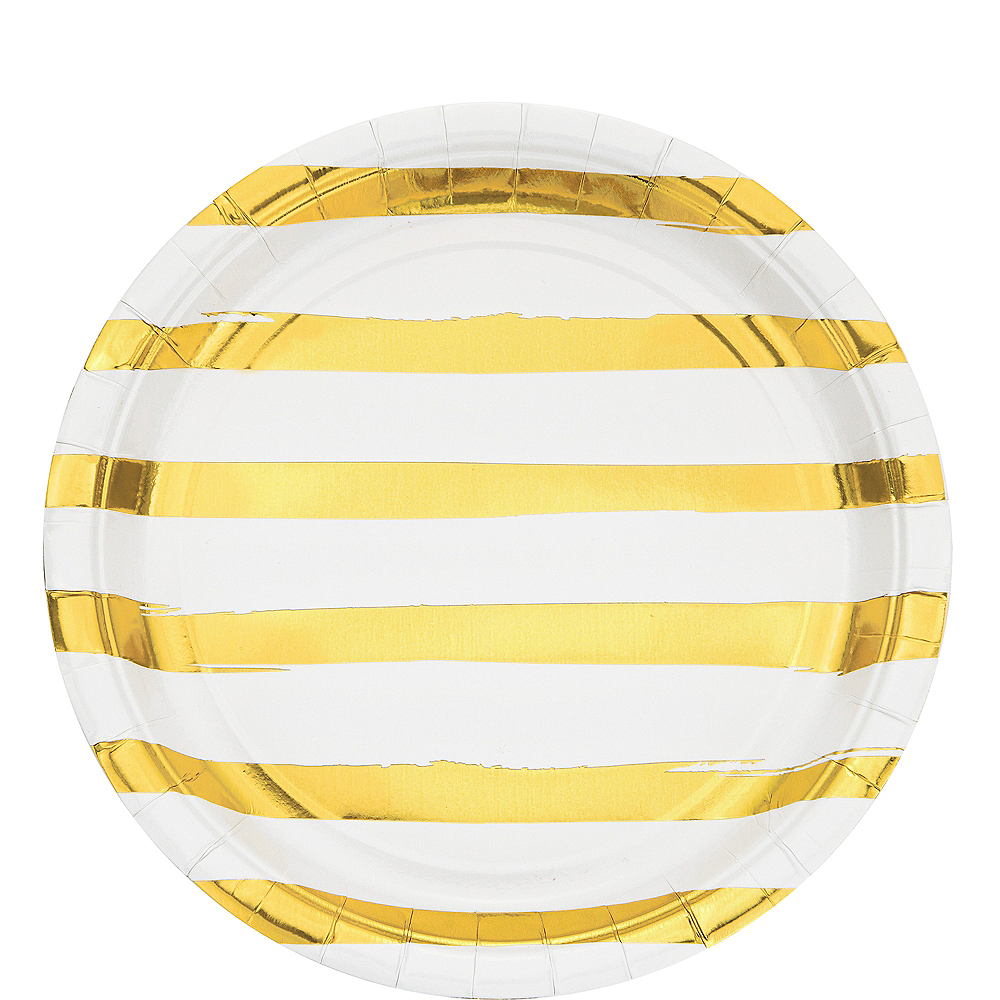 Metallic Gold Striped White Lunch Plates 8ct Image #1