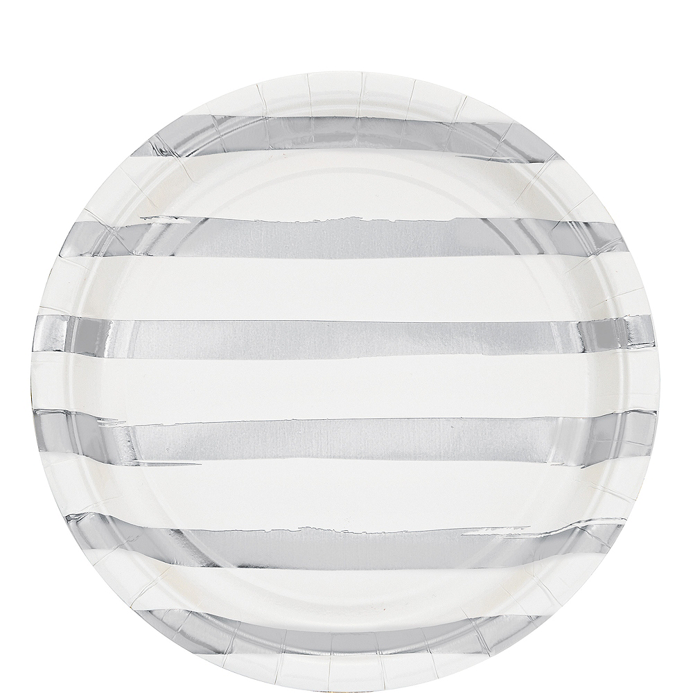 Metallic Silver Striped White Lunch Plates 8ct Image #1