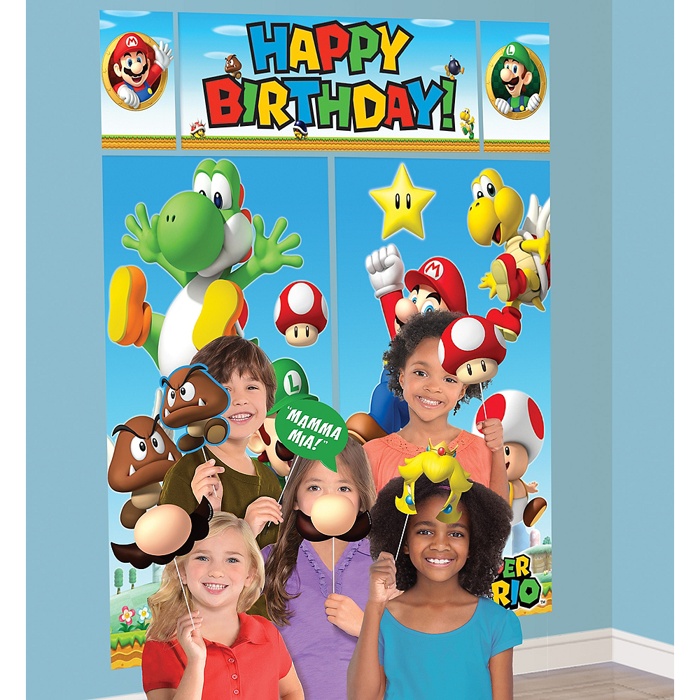 Super Mario Scene Setter with Photo Booth Props Image #1