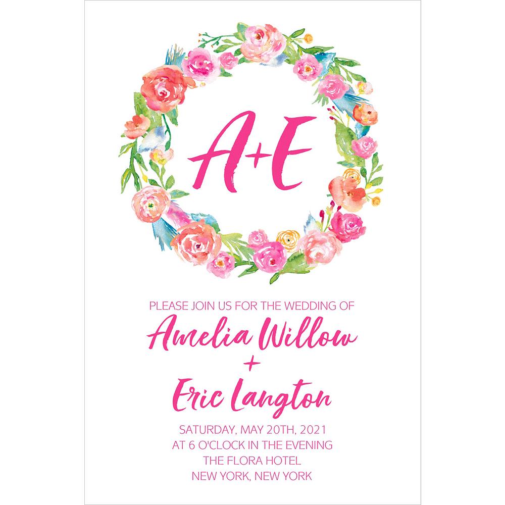 Custom Watercolor Wreath Wedding Invitation Image #1