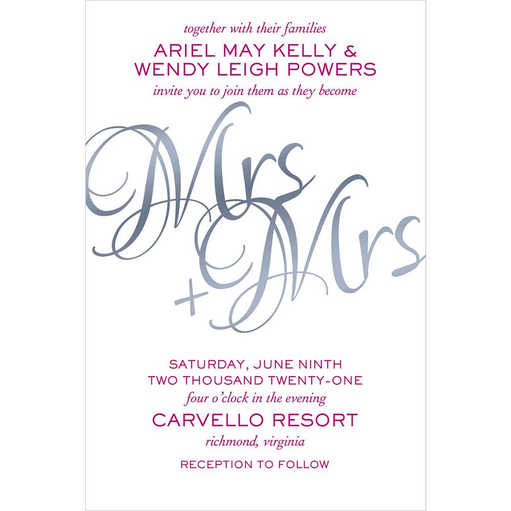 Custom Mrs. & Mrs. Wedding Invitation Image #1