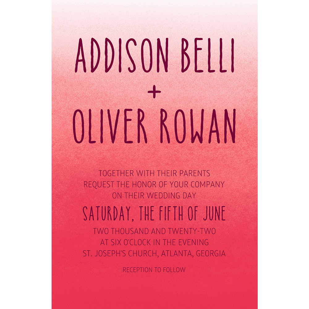 Custom Red Watercolor Ombre Wedding Invitations | Party City