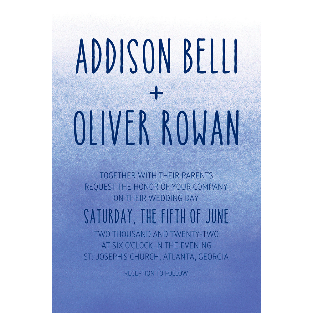 Custom Blue Watercolor Ombre Wedding Invitations Party City