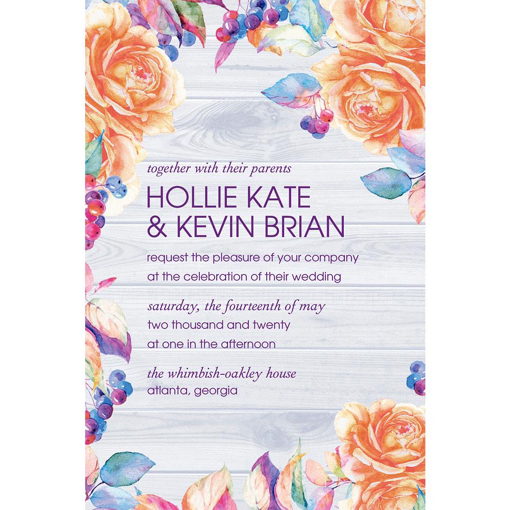 Custom Wood & Floral Wedding Invitation Image #1