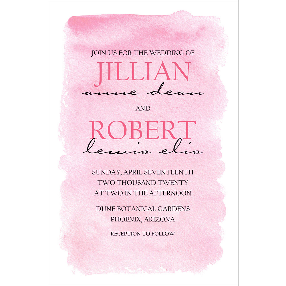 Custom Pink Watercolor Wedding Invitation Image #1