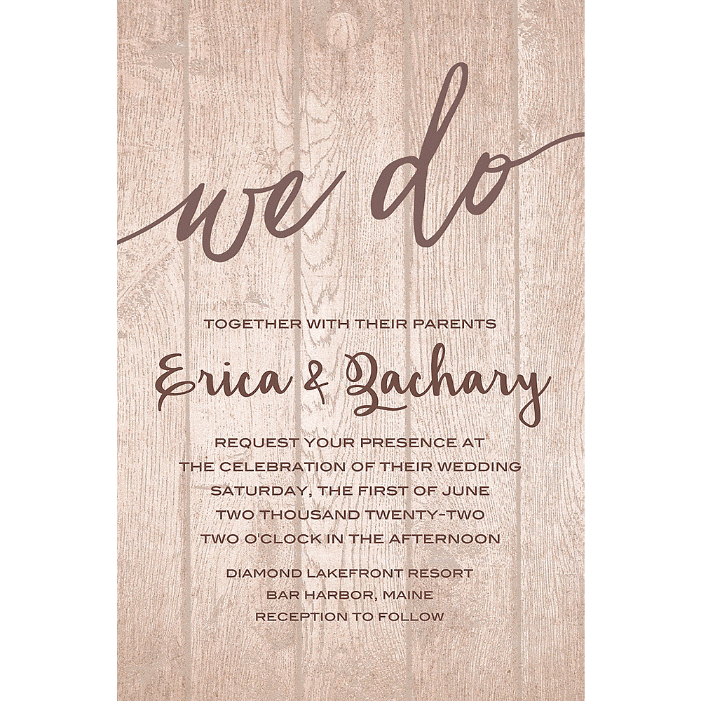 Custom Whimsical Wood Wedding Invitation Image #1