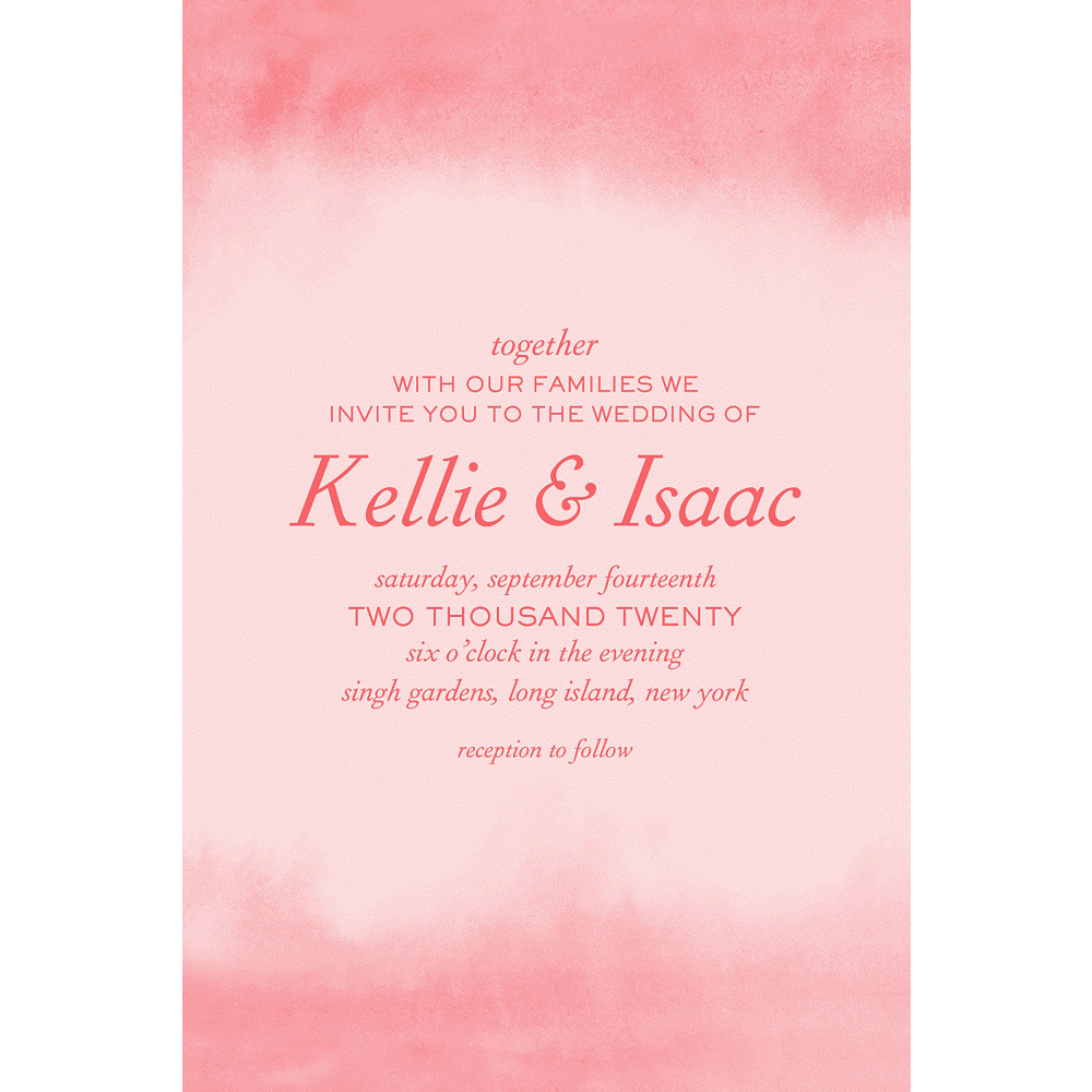 Custom Soft Salmon Watercolor Wedding Invitation Image #1